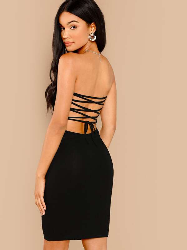 1a0d40436d1 Lace Up Back Bodycon Tube Dress