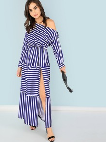 One Shoulder Waist Knot Split Striped Dress