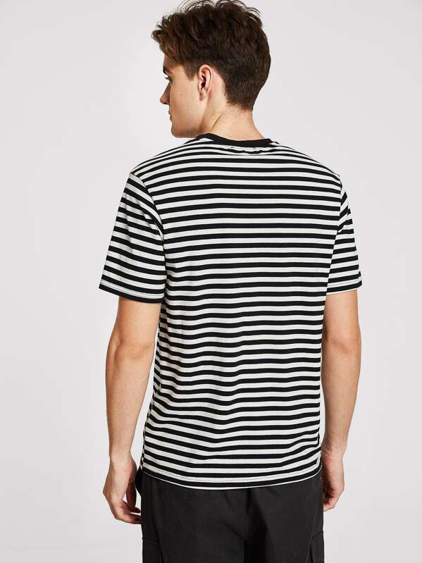 1eaeb3976244 Men Rose Embroidered Striped Tee