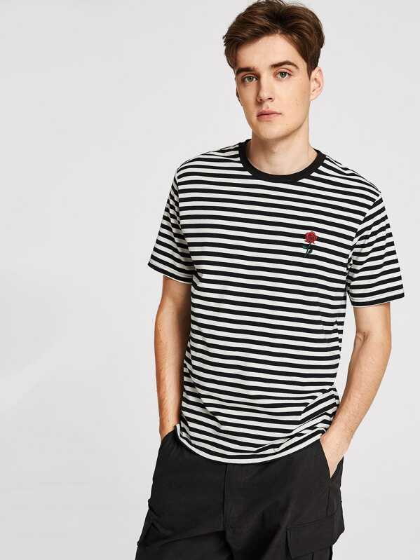d61ce376ad Men Rose Embroidered Striped Tee | SHEIN
