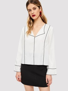 Contrast Tipping Collar Top