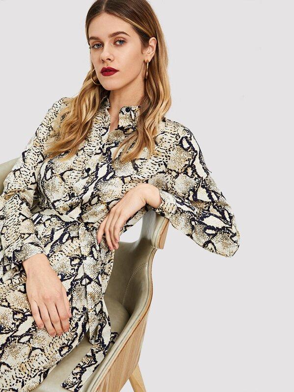 ef4a9a903fd57 Snakeskin Self Belt Maxi Shirt Dress