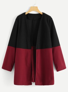 Plus Two Tone Open Front Coat