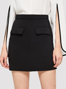 Pocket Patched Solid Skirt