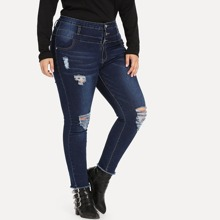 Plus Faded Wash Ripped Raw Hem Jeans