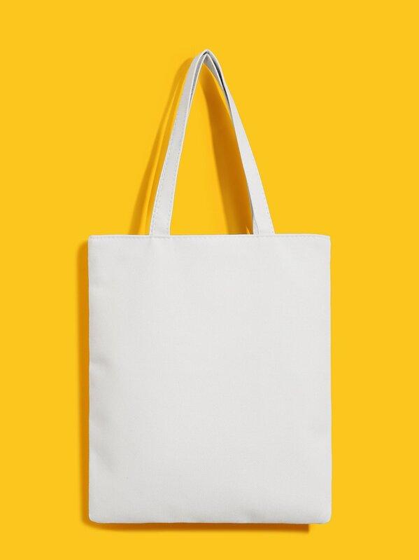 7e36b57143 Cartoon Print Canvas Tote Bag | SHEIN UK