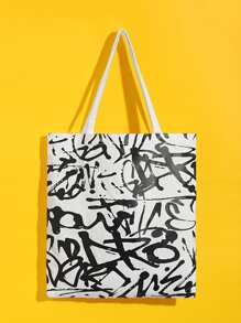 Graffiti Print Tote Bag