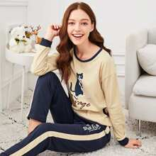Multicolor Casual Long Sleeve Cartoon Pajama Sets Pocket Fall Loungewear, size features are:Sleeve Length : Long Sleeve,