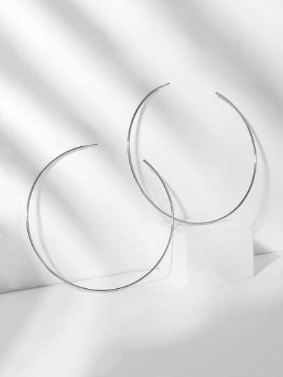 Slim Open Oversize Hoop Earrings 1pair