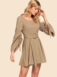 50s Bell Sleeve Drawstringg Pleated Dress