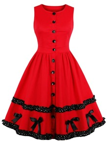 50s Lace Contrast Button Front Dress