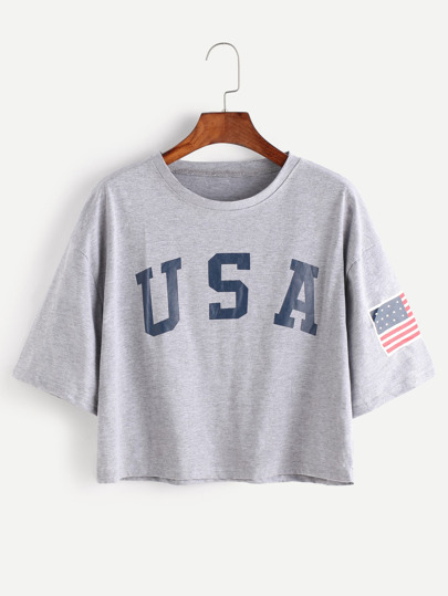 8673ef1f American Flag Letter Print Drop Shoulder Tee