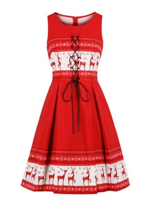 50s Lace-Up Front Chrismas Print Dress