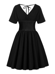 50s Tie Back Pleated Dress
