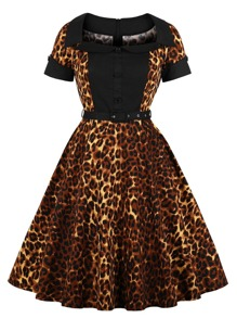 50s Leopard Print Shirt Dress With Belt