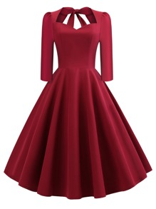 50s Bow Tie Back Pleated Dress