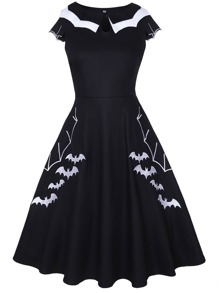 50s Bat Embroidered Contrast Binding Dress