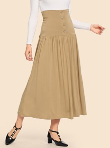 50s Button Front Pleated High-Waist Skirt