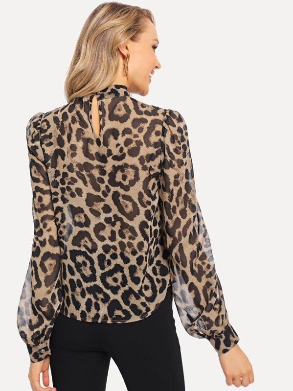 7a8ad6c8f60fed Choker Neck Semi Sheer Leopard Top