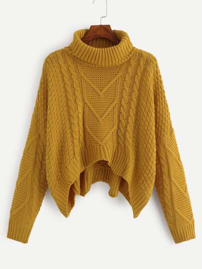 Mixed Knit Asymmetrical Hem Jumper