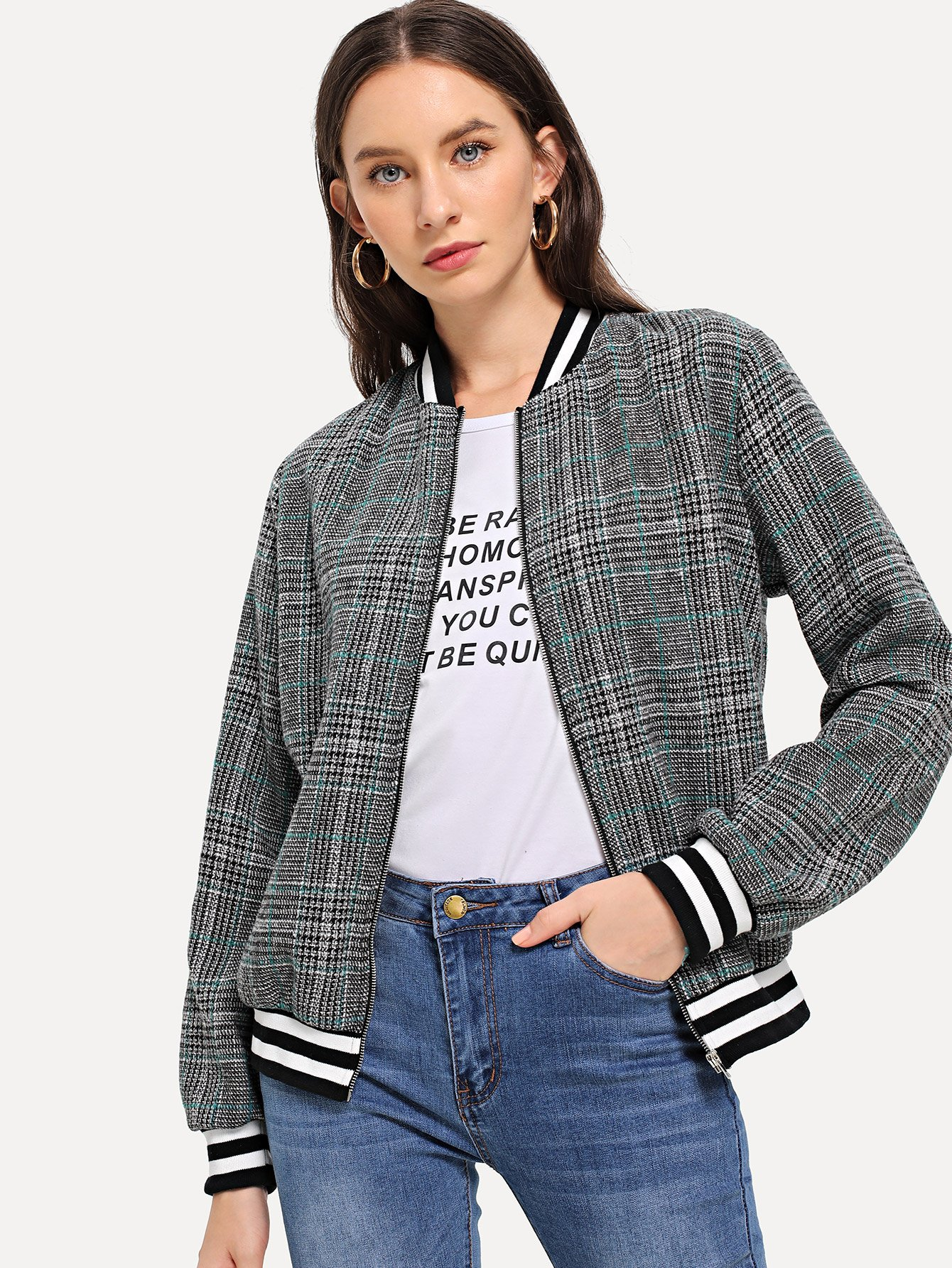 Varsity Striped Plaid Jacket by Romwe