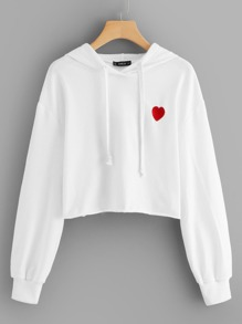 Embroidered Love Drawstring Crop Hoodie