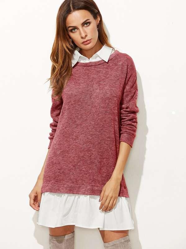 nouvelle collection bas prix promotion Robe sweat-shirt 2 en 1 avec col chemisie