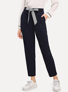 Striped Tie Waist Cigarette Pants