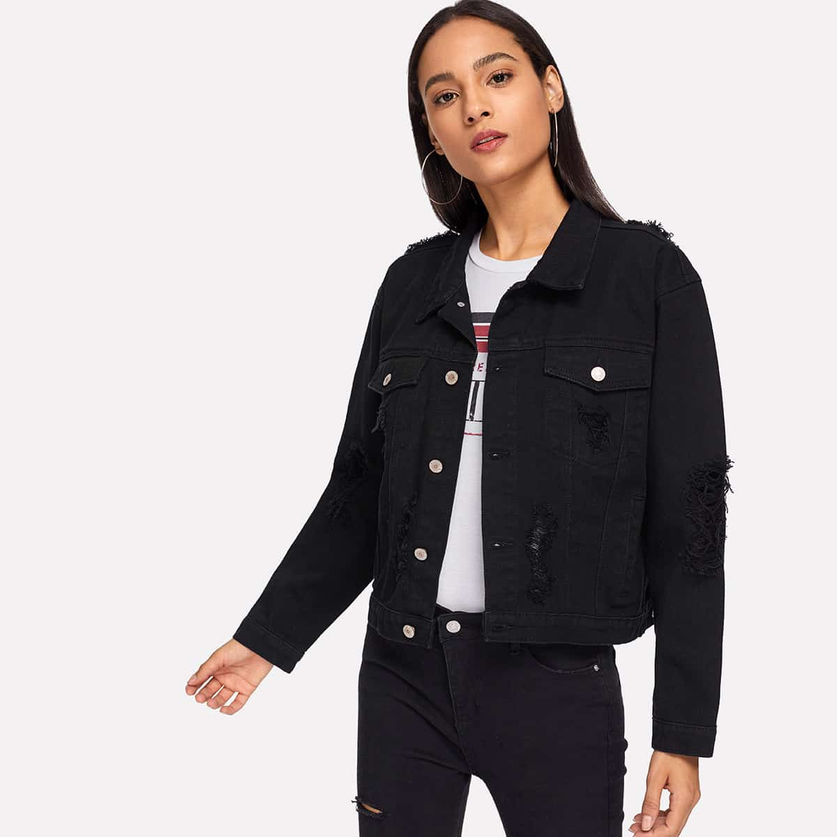 SHEIN coupon: Pocket Patched Ripped Jacket
