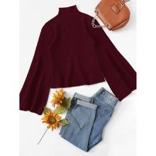 Mock Neck Bell Sleeve Sweater