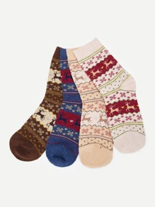 Christmas Deer Pattern Socks 4pairs