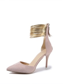 Stiletto Metallic Ankle Strap Heels