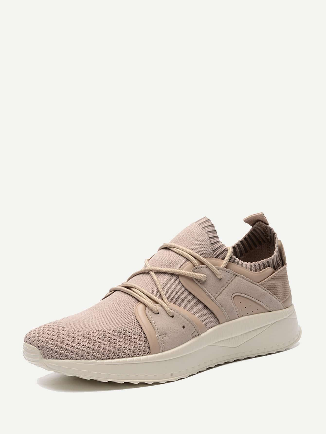 Men Lace Up Fly Knit Trainers