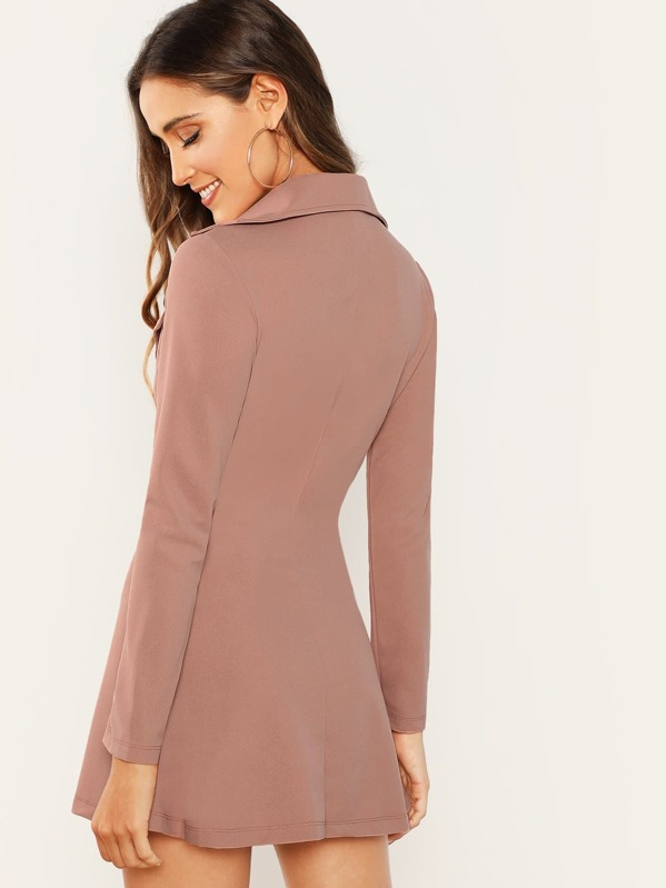8a29b33ebfa0 Double Breasted Zip Front Blazer Dress | SHEIN