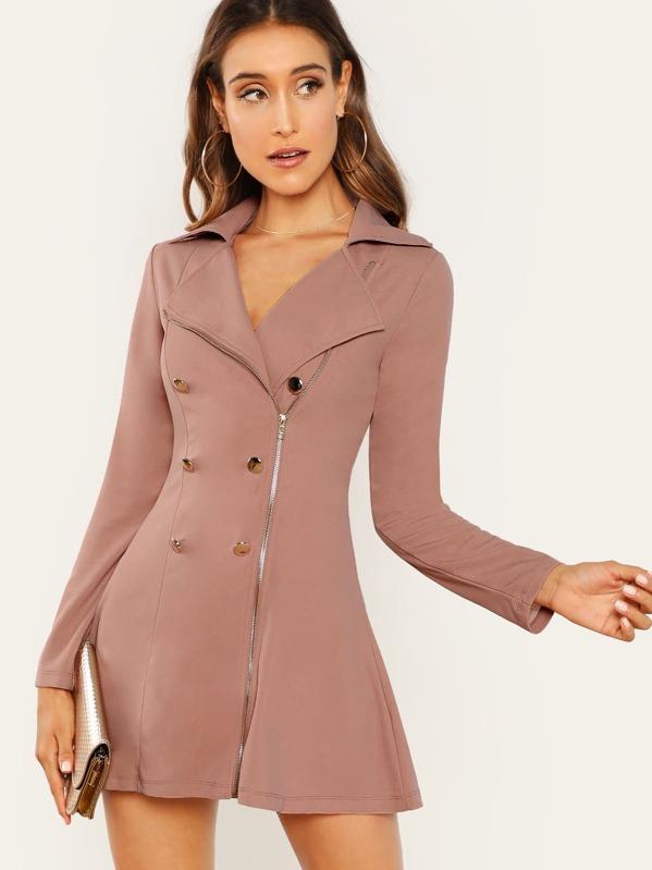 22791d9fe5 Double Breasted Zip Front Blazer Dress | SHEIN IN