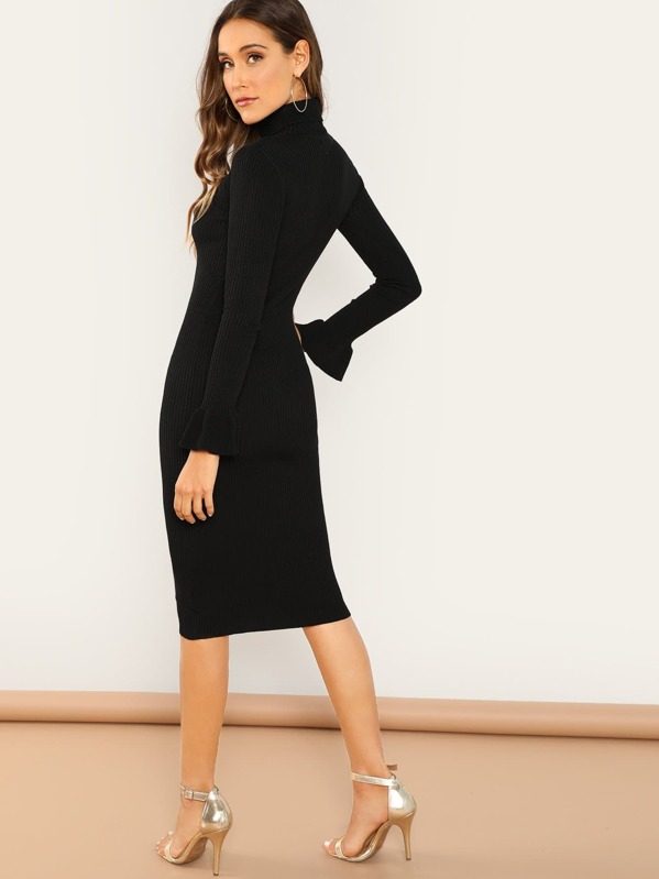 58c7739c358a Turtleneck Knit Ruffle Sleeve Knee Length Dress
