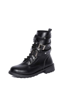 Buckle Decor Lace Up Boots