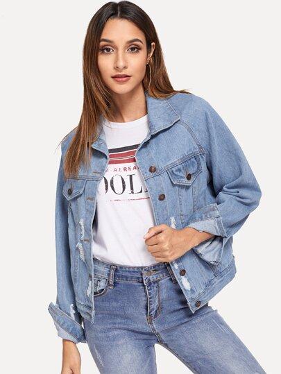 discount good selling huge sale Ripped Single Breasted Raglan Sleeve Denim Jacket