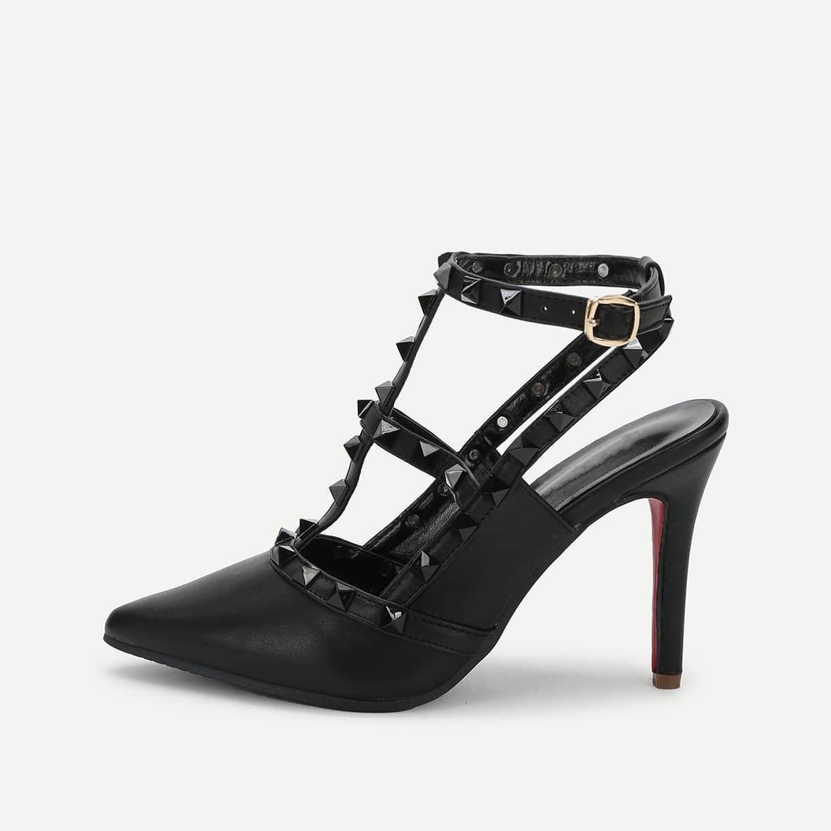 Туфли на высоких тонких каблуках с шнурками и заклёпками от SHEIN