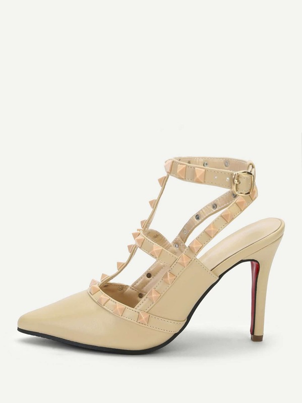 0a7f15700 Rivet Detail Ankle Strap Stiletto Heels