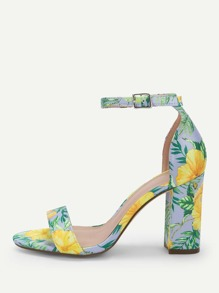 Flower Print Single Band Ankle Strap Heels