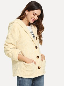 Pocket Front Button Up Hooded Teddy Jacket