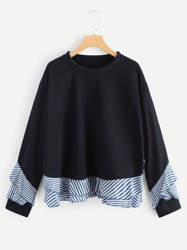 a207c4238bd Cheap Plus Ruffle Decoration Striped Sweatshirt for sale Australia ...