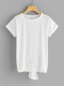 Slit Back Dip Hem T-shirt