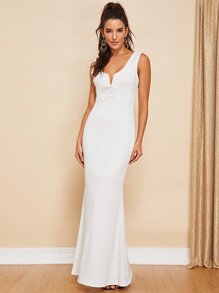 V-Notch Front Backless Fishtail Dress