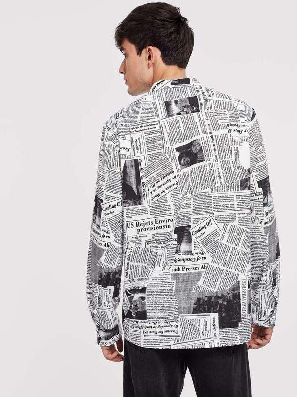 b1a353feb7 Men Button Front Letter Print Shirt   SHEIN