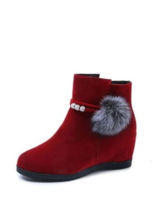 Fluffy Pom Pom Decor Side Zip Boots
