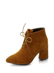 Lace Up Chunky Heeled Suede Boots