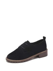 Lace Up Suede Flat Oxfords