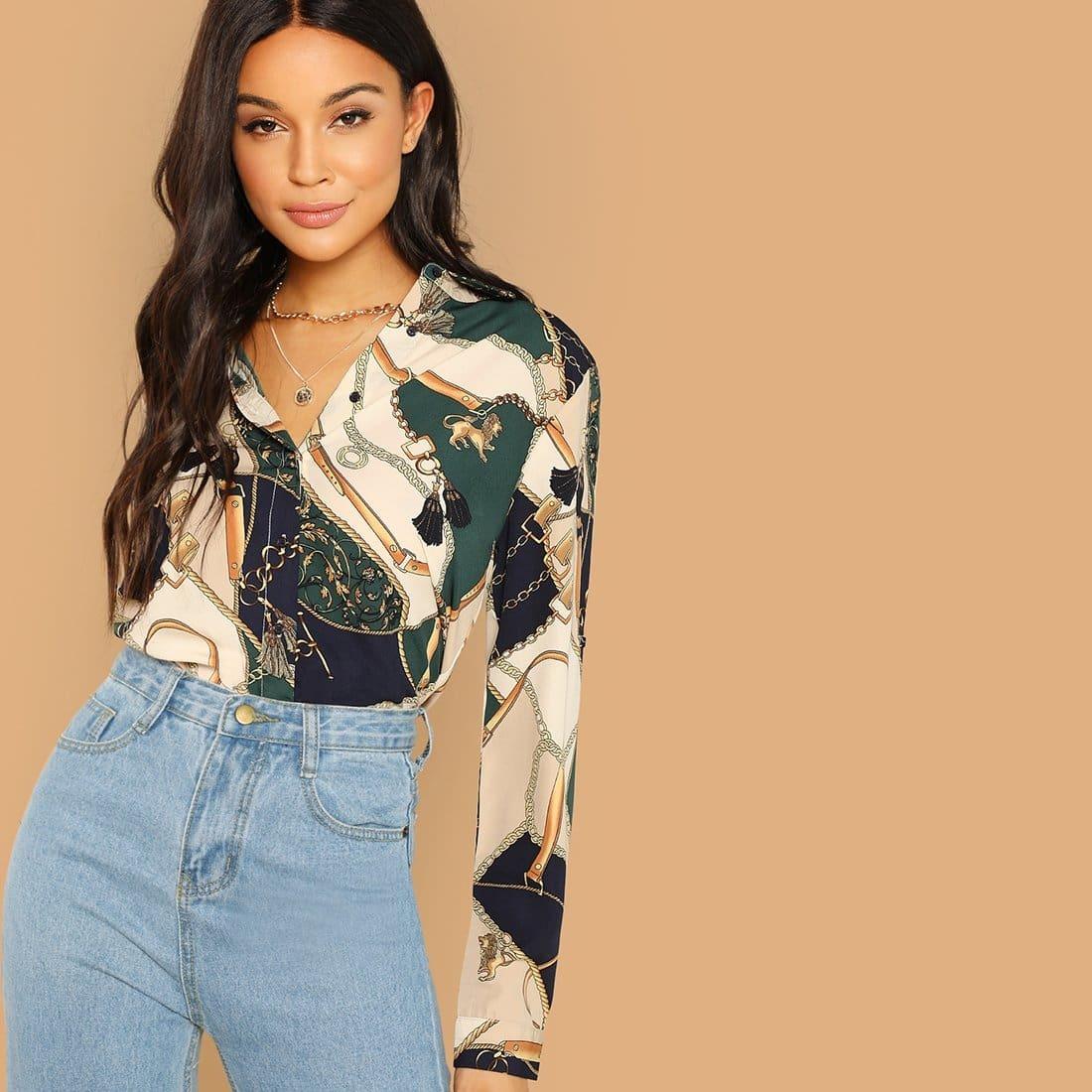 Контрастная блузка с цепным принтом